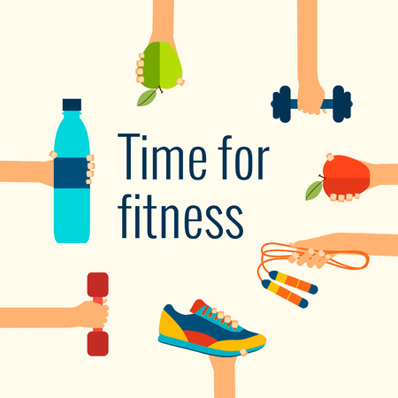 Fitness concept vlakke geïsoleerde vector illustratie en modern design element