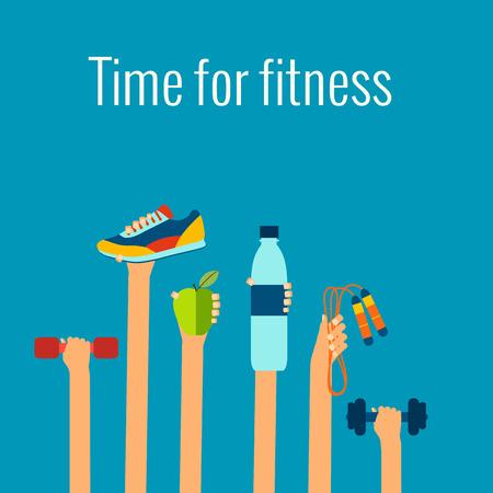 фитнес: Фитнес-концепция плоским изолированных векторные иллюстрации и современный элемент дизайна