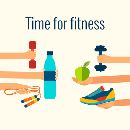 water sport: Fitness concept flat Isolated vector illustration and modern design element