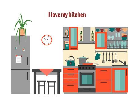 Keuken met meubilair. Vlakke stijl vector illustratie. Stock Illustratie