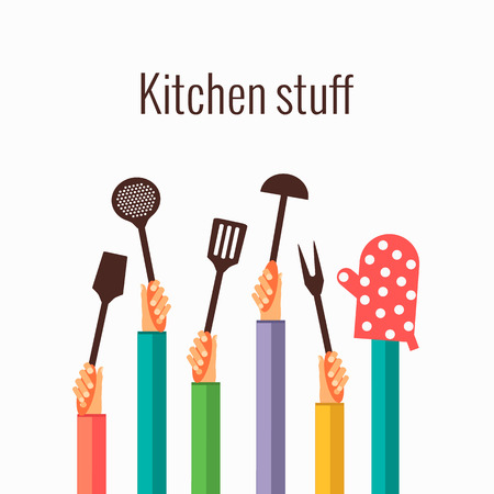 Flat concept for cooking Vectores