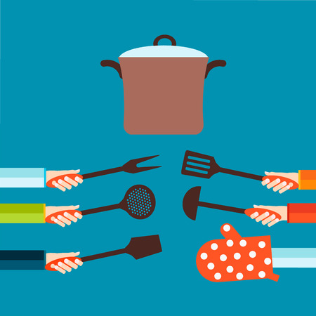 Flat concept for cooking Illustration
