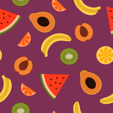 tropical fruits: Tropical Fruits Seamless Pattern. Vector background featuring tropical fruits.