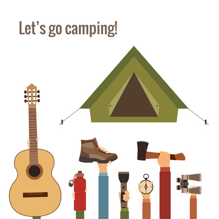 boy scouts tent: Camping concept Illustration