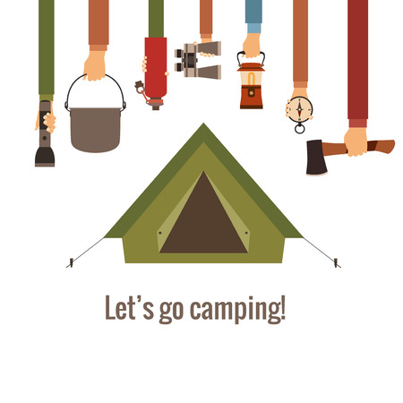 camping tent: Camping concept Illustration