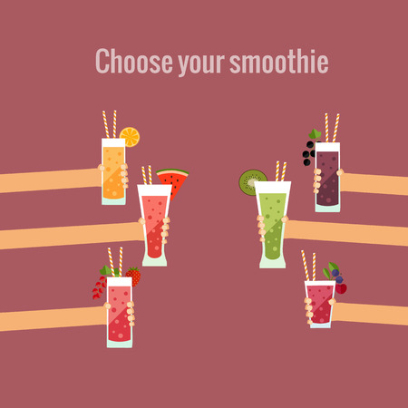 product background: Fresh smoothie bar flat concept made in vector.