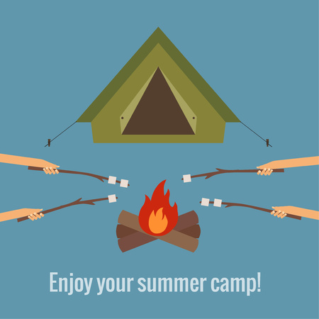 Camping concept made in vector. Flat style