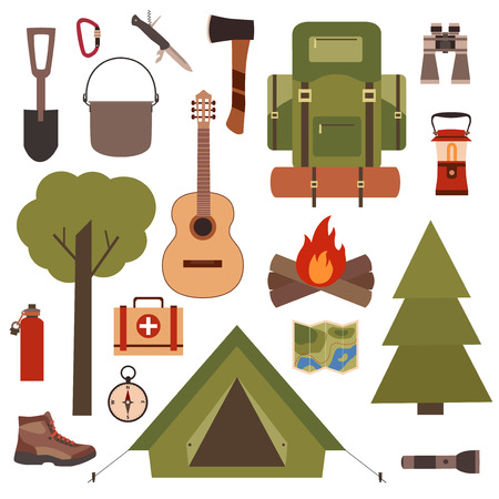 boy scouts tent: Set of camping equipment symbols and icons made in vector