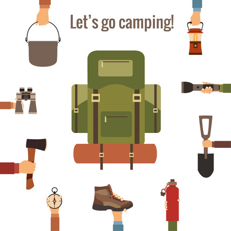 boy scouts tent: Camping concept made in vector. Flat style