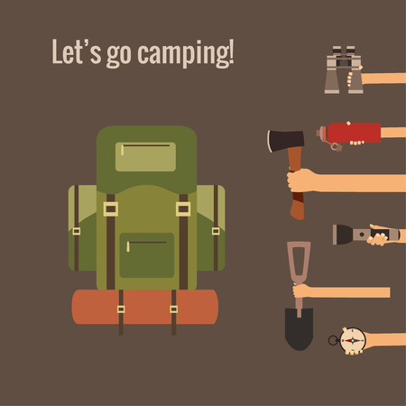 hand shovels: Camping concept made in vector. Flat style
