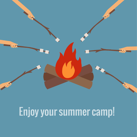 Vector illustration of roasting marshmallows on fire camping made in flat style Vectores
