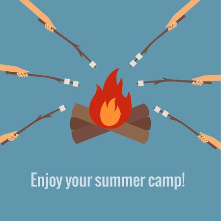 Vector illustratie van roosteren marshmallows in brand camping in vlakke stijl Stock Illustratie