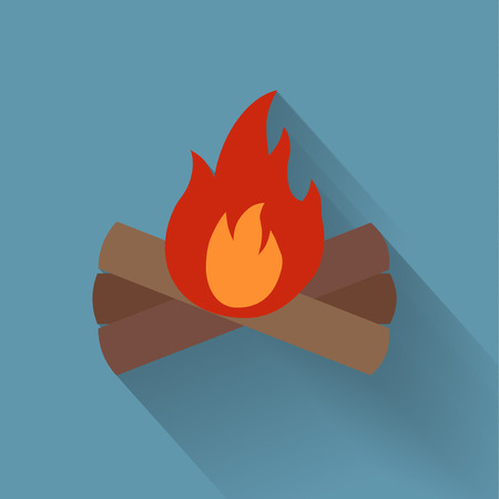 red devil: Campfire flat icon made in vector