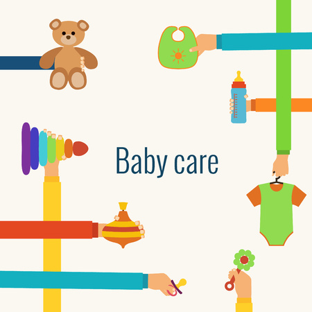 to care: Baby care flat concept made in vector
