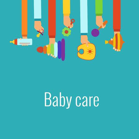Babyverzorging platte begrip gemaakt in vector Stock Illustratie