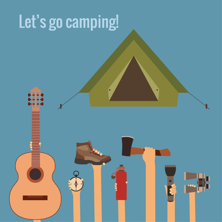 hand shovels: Camping concept made in vector
