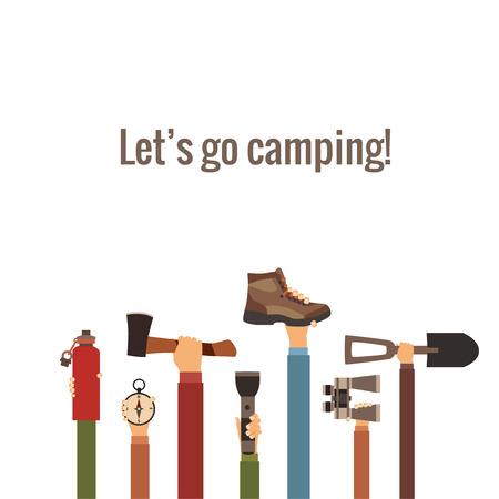 Het kamperen concept in vector wordt gemaakt die
