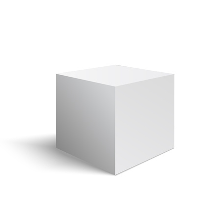 Wight 3D cube made in vector  イラスト・ベクター素材