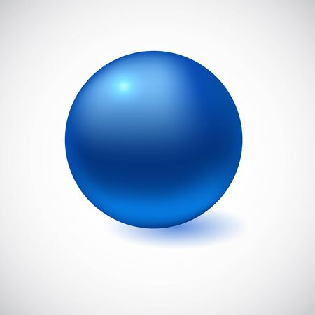 Blue 3D sphere isolated on white. Vector illustration for your design 向量圖像