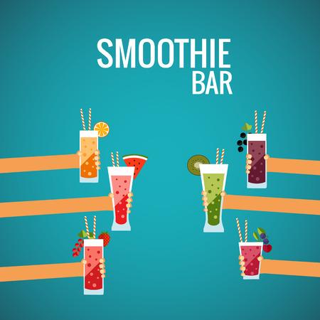 Verse smoothie bar flat begrip gemaakt in vector. Stock Illustratie