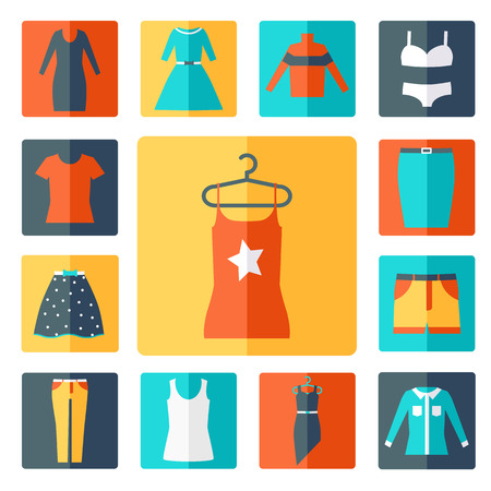 shirts on hangers: Clothing icons set, shopping elements, flat design vector
