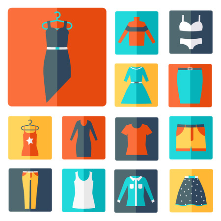 suit skirt: Clothing icons set, shopping elements, flat design vector