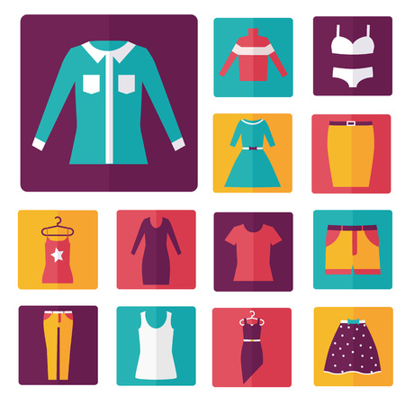 skirt suit: Clothing icons set, shopping elements, flat design vector