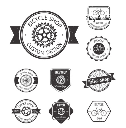 Set van fietsenwinkel badges en labels in vector