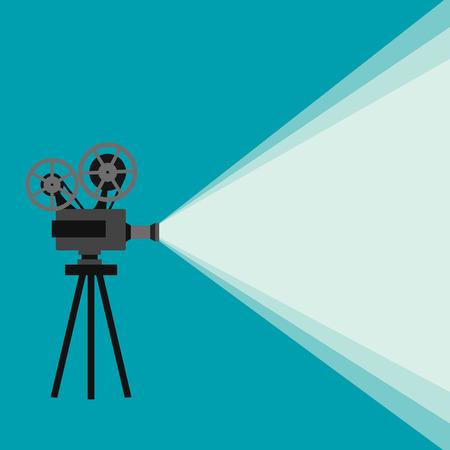 Retro film projektor s různými filmové kotouče provedených v vektoru Ilustrace