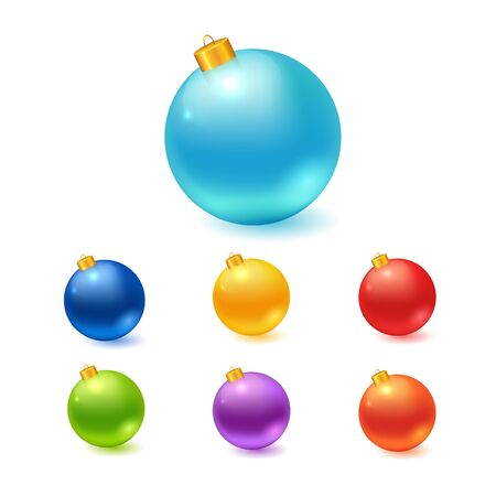blue ball: Christmas balls set. Vector illustration of isolated realistic colorful decorations. Illustration