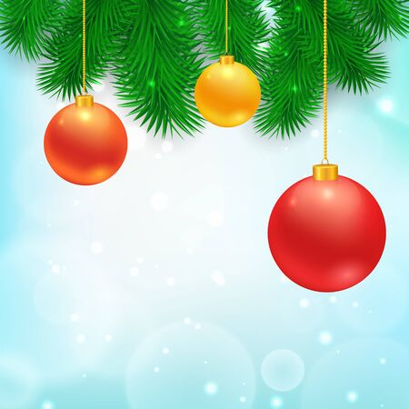 branch of a christmas tree: Christmas Tree Borders with hanging balls.  Vector realistic illustration for your design.