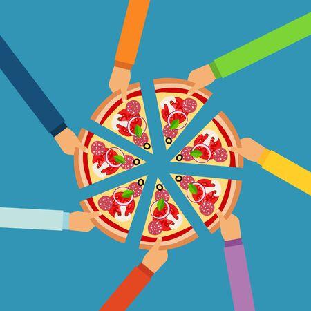 ベクトルは、フラット スタイルのピザ平らな手の概念
