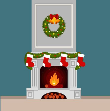 Christmas stockings by the fireplace illustration made in flat style Illustration