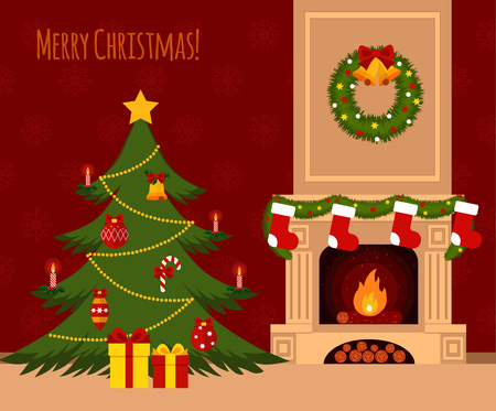 Christmas stockings by the fireplace illustration made in flat style  イラスト・ベクター素材