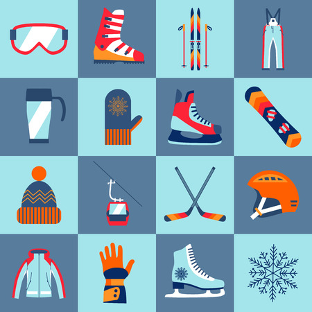 sport shoes: Winter sport icons set made in vector