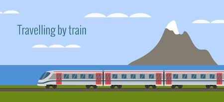 sea landscape: Train on railway with sea landscape  in flat style.