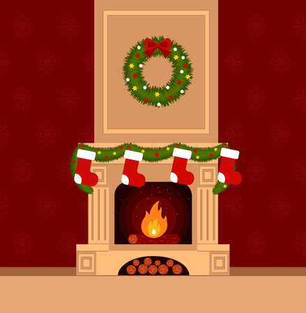 fireplace home: Christmas stockings by the fireplace illustration made in flat style Illustration
