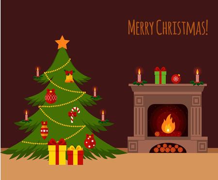 camino natale: Albero di Natale davanti al camino illustrazione in stile piatto