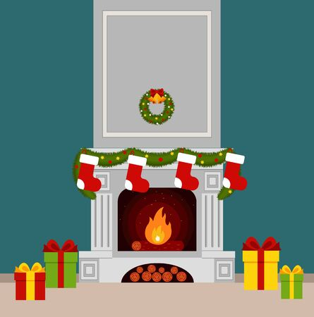 fireplace christmas: Christmas stockings by the fireplace illustration made in flat style Illustration