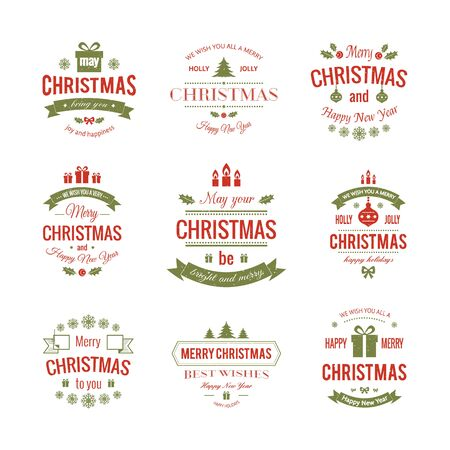 wishes: Set typographic christmas vintage labels made in vector. Merry Christmas and Happy Holidays wishes.