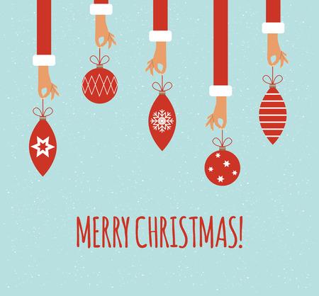 Veel van de handen te houden kerstballen. Vector kleurrijke illustratie in flat design stijl Stock Illustratie
