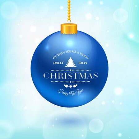 new ball: Christmas ball with logo hanging on a chain isolated on white, vector illustration Illustration