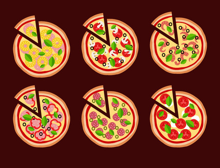 pepperoni: Pizza in flat style vector background. Illustration of pizza Margherita, Pepperoni, Seafood, Hawaiian, Mexican, Mushroom, Italian. Vettoriali
