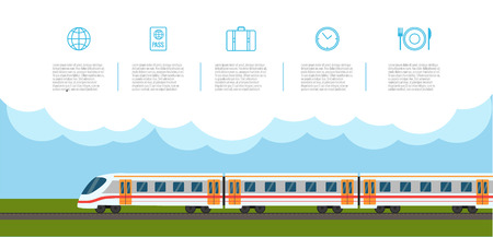 railway transportation: Train on railway with icons set  in flat style.