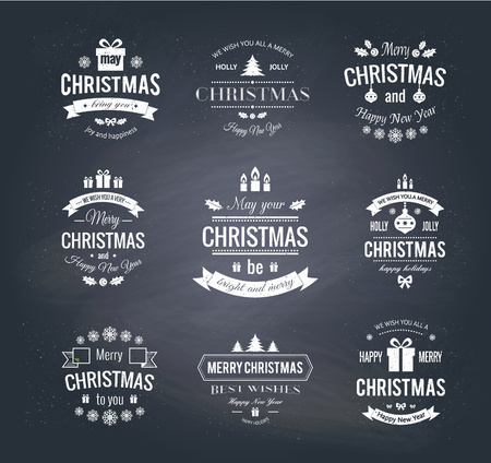 Set typographic christmas vintage labels on chlackboard made in vector. Merry Christmas and Happy Holidays wishes. Illustration