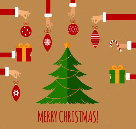 hands holding tree: Merry christmas concept in flat style. Hands of the people holding Christmas symbols, among them ball, Christmas tree, Santa hat, gift, Christmas wreath. Vector illustration