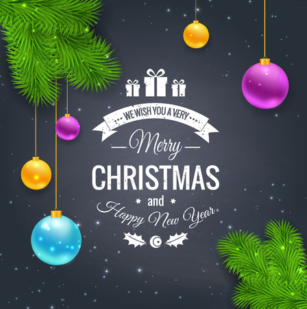 Merry Christmas greetings logo on chalkboard. Chrictmas design made in vector
