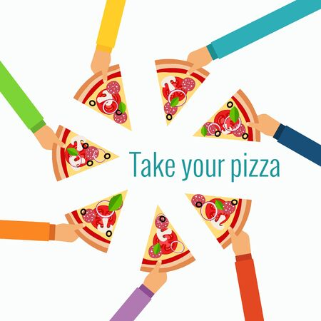 eating fast food: Pizza flat hand concept in flat style made in vector