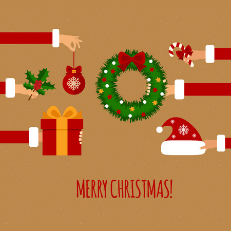 Merry christmas concept in flat style. Hands of the people holding Christmas symbols, among them ball, Christmas tree, Santa hat, gift, Christmas wreath. Vector illustration