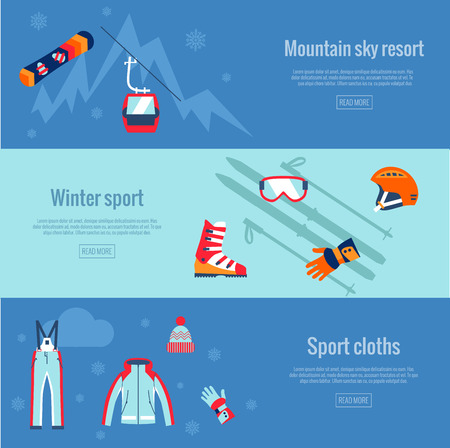 winter sport: Set of winter sport banners. Skating and mountain, snow and recreation, travel outdoor, equipment, cloths.
